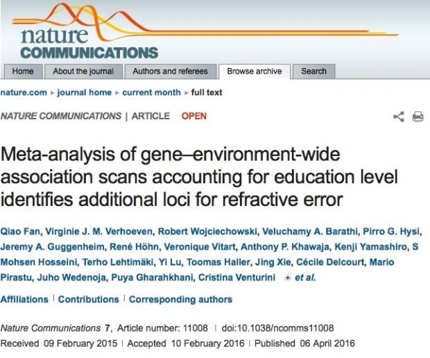 близорукость, ген, Nature Communications