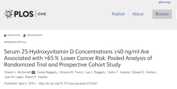 витамин D, рак, PLoS One