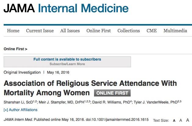 религия, женщины, смерть, JAMA Internal Medicine