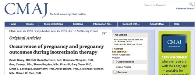 акне, Canadian Medical Association Journal, Изотретиноин