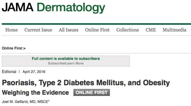 Псориаз, Метаболический синдром, JAMA Dermatology