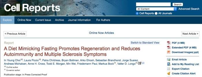 голодание, рассеянный склероз, Cell Reports