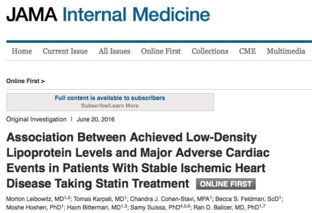 статины, инфаркт, JAMA Internal Medicine