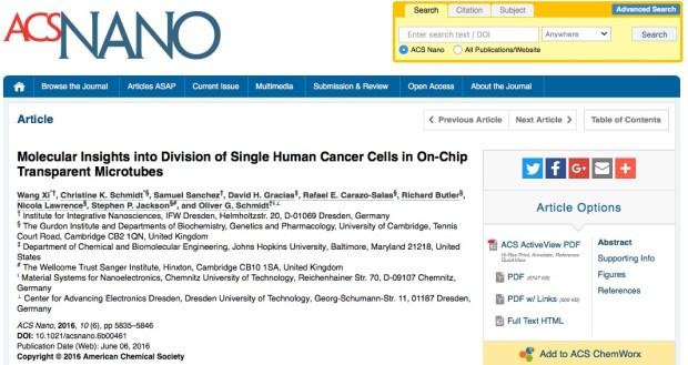 ACS Nano, метастазы