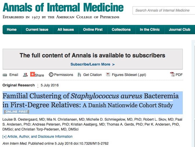 стафилококк, Annals of Internal Medicine