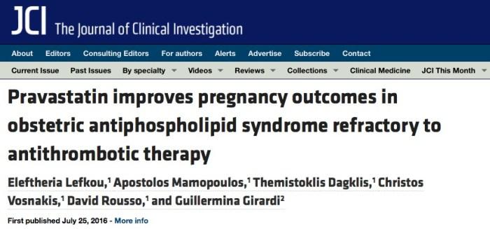 The Journal of Clinical Investigation, статины, беременность