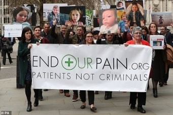 British medical cannabis campaigners marching in London
