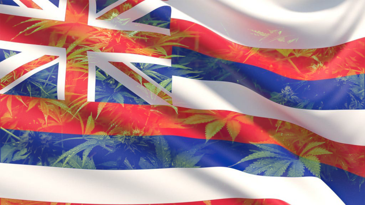 Flag of Hawaii waving in the wind, with images of cannabis leaves