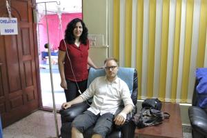 It's me with ND. Khan taking some IV glutathione at Fit n Fine, Bangalore, India