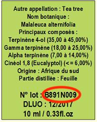 numéro lot huile essentielle