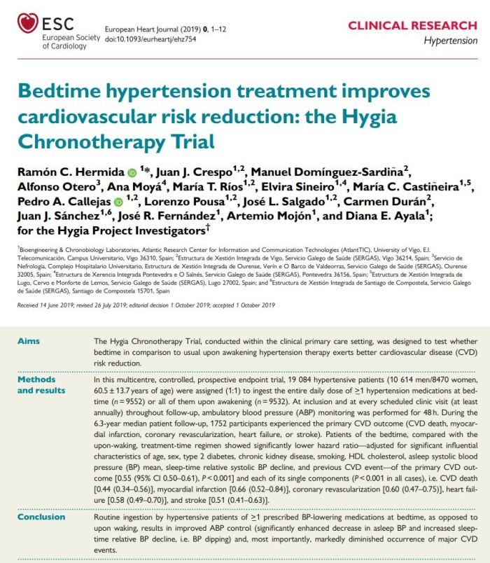 Bedtime hypertension treatment impoves cardiovascular risk reduction