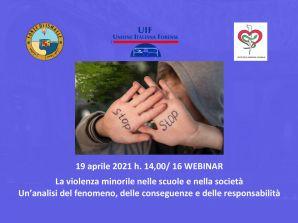 """Lunedì 19 Aprile: webinar su """"La violenza minorile nelle scuole e nella società"""""""