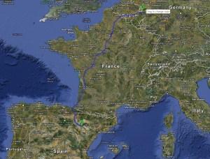 Zaragossa to Aix-la-Chapelle (click top enlarge)