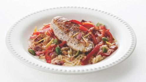 Chicken with rosemary and red bell peppers