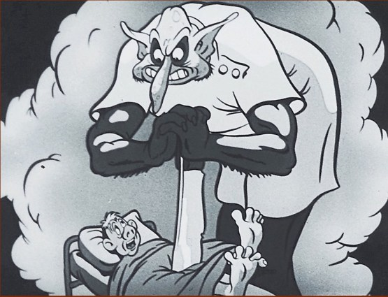 A giant devil-faced surgeon cuts into McGillicuddy with a huge knife in a dream.