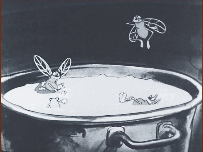 Four flies with big teeth and bug eyes swim in a metal pot like its a pool.