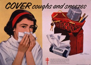 A poster shows a girl holding a tissue or handkerchief over her nose and mouth and an open school bag with a pack of tissues nearby.