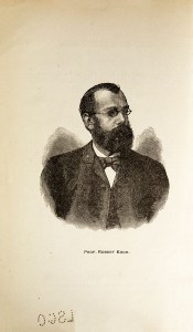An engraving of a man in a suit with a beard and glasses.