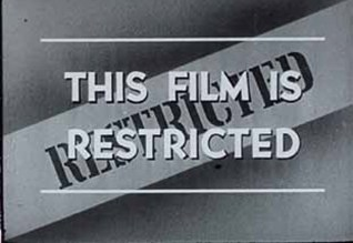 A frame from the film reading This film is restricted.
