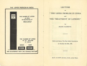 Page spread showing a bar graph and the titlepage of a published lecture.