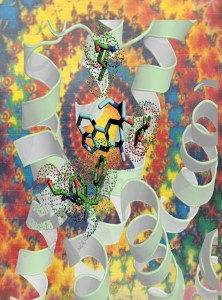 On a tie-dye background, curling ribbon structures and hexagonal molecular structures interact.