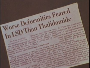 A clipped newspaper article titled Worse Deformities Feared in LSD than Thalidomide.