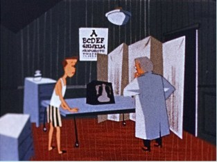 Rodney looks at his doctor who looks concerned by the X-Ray.
