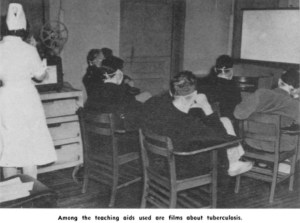 Men in an Army hospital sit at school desks watching a film about tuberculosis.