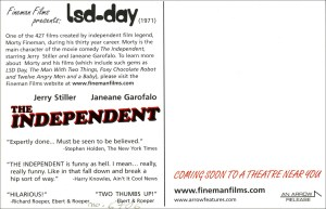 Postcard flyer for 1971 film LSD-day with blurb and reviews.