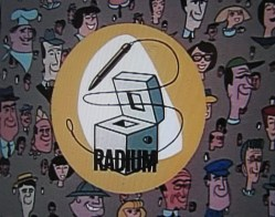Over a background of smiling faces a radium machine is shown.