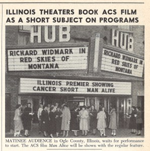 A crowd of people under a movie marquee at the Hub Theater waiting to see Richard Widmark in Red Skies of Montana.