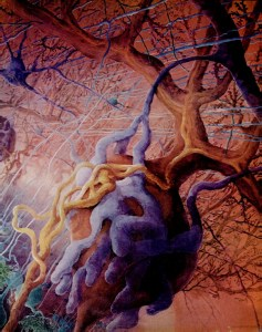 A still from an animation of blood vessel structure showing complex branching structures.