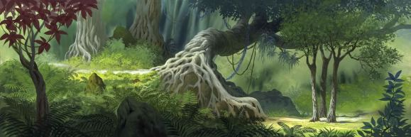 A still from an animation of a jungle including a tree with complex branching roots.
