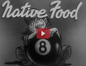 Title screen for Native Food showing a cartoon soldier behind an eightball