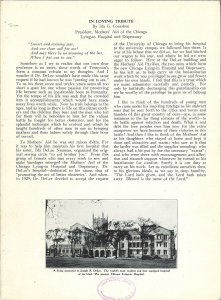 Scanned page of a eulogy for DeLee featuring an image of the Chicago Lying-in Hospital..