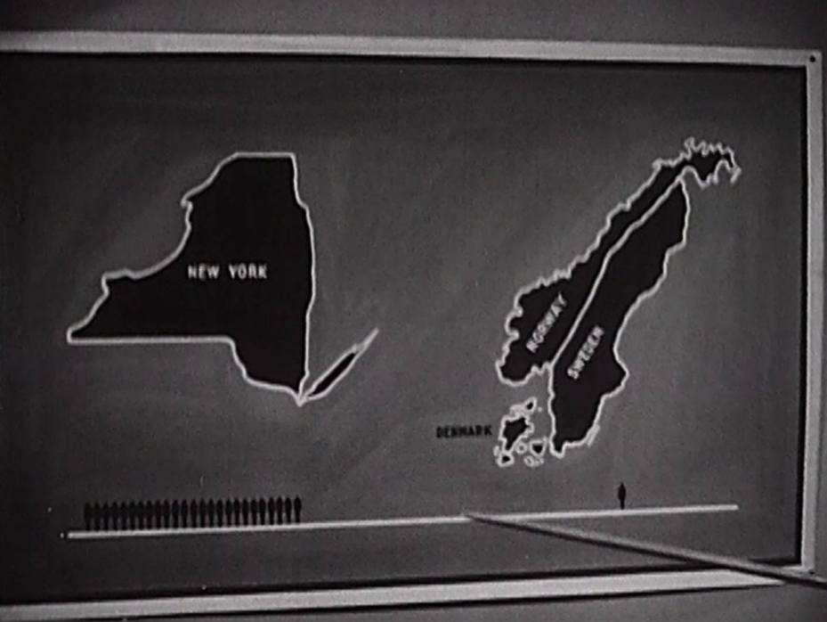 A visual aid indicating more people in New York state than in Norway, Sweden, and Denmark combined.