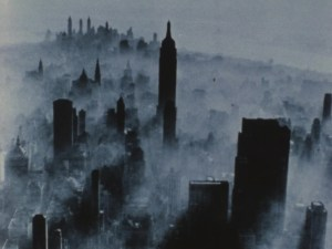 Top view of a city with mist over it