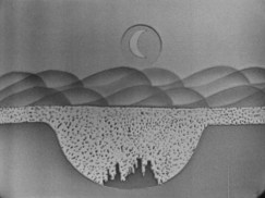 painting of scenery with the sun in the top middle of the picture, with the silhouette of a city in a deep hole.