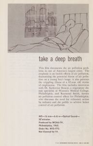 Page of a pamphlet advertising a film called Take a Deep Breath.