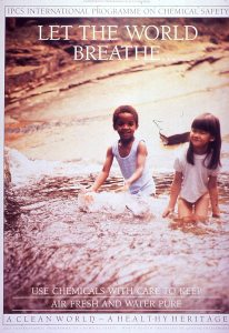 A poster illustrated by a black boy and an asian girl playing in the surf.