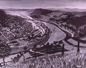 An artistic rendering of a town with smog blowing along a bend in a river seen from a flowered hillside.