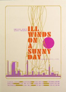 A four color poster illustrated with an industrial skyline and line of smoke rising throught the text.