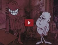 An animated image of a tall slick man grinning at a small grumpy male figure.