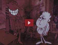 An animated scene in which a tall slick man grins at a small pale grumpy man.