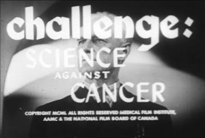 Title screen for Challenge: Science Against Cancer, text overlaid on an image of an older white man in a suit with a serious expression.