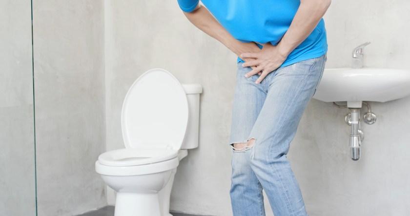 man with urine urgency