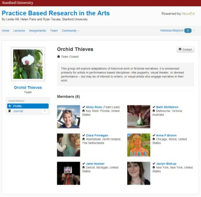 MOOC Forums: screen cap of a NovoED group or team showing profile images of the 6 teammates and a description of the team's vision.