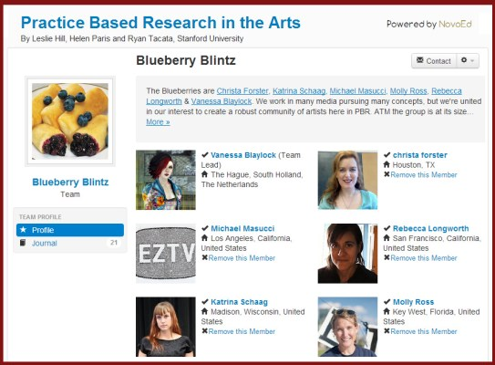"MOOC Team Home Page: ScreenCap of NovoED Team page for ""Blueberry Blintz"""