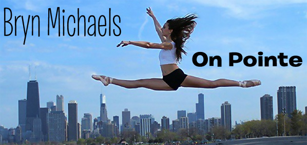 15-year-old ballerina Bryn Michaels doing a spectacular grand jeté over the Chicago skyline. Michaels wears a white crop top, black shorts, and pink toe shoes.  Her lower-back-length blonde hair flows behind her in the Chicago air.