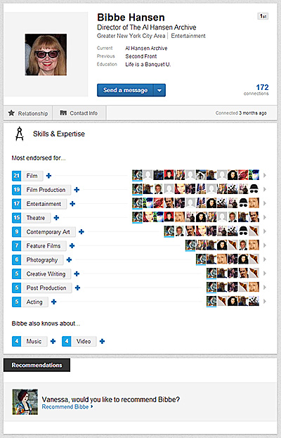 screencap of Bibbe Hansen's linkedin profile showing her endorsements from colleagues